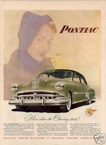 "Pontiac Car Ad ""Here's Where the Cheering... (1949)"