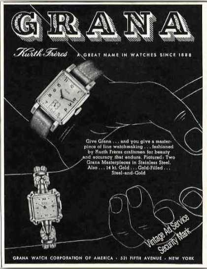 Grana Watches By Kurth Freres (1947)