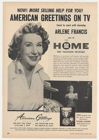 Arlene Francis TV Home Show American Greetings (1954)