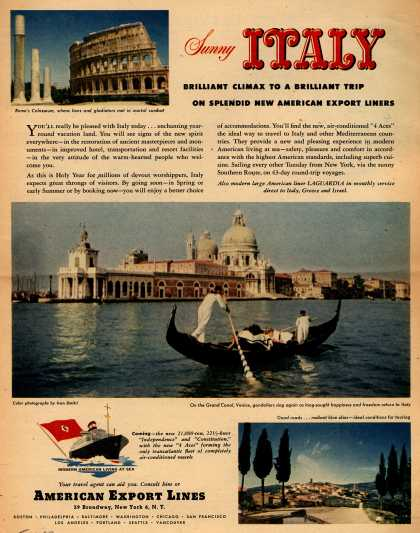 American Export Line's Italy – Sunny Italy (1950)