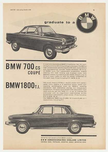 BMW 700 CS Coupe and 1800 TI British (1965)