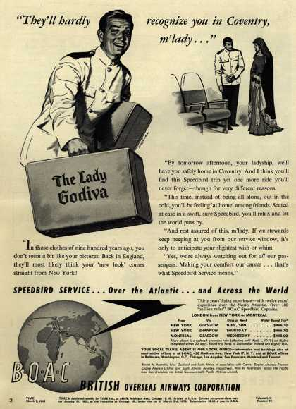 "British Overseas Airways Corporation's Airline – ""They'll hardly recognize you in Coventry, m'lady... "" (1949)"