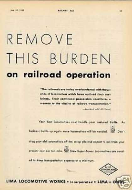 "Lima Locomotive Ad ""Remove This Burden... (1932)"