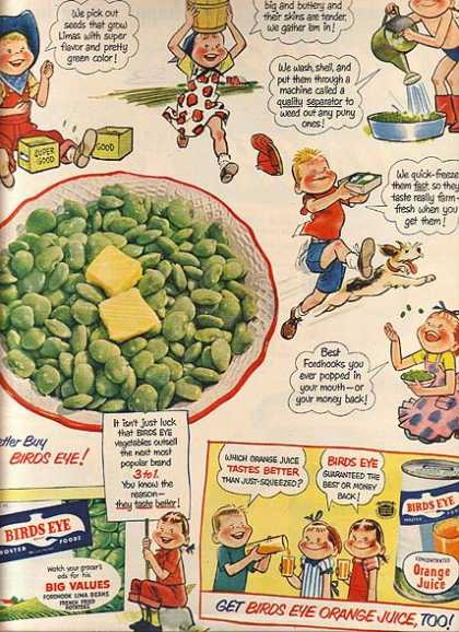 Birds Eye's Frozen Fordhook Lima Beans (1951)