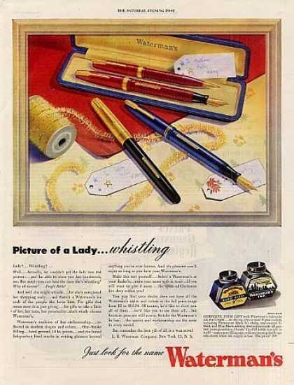 "Waterman's Fountain Pens Ad ""Picture of a Lady... (1944)"