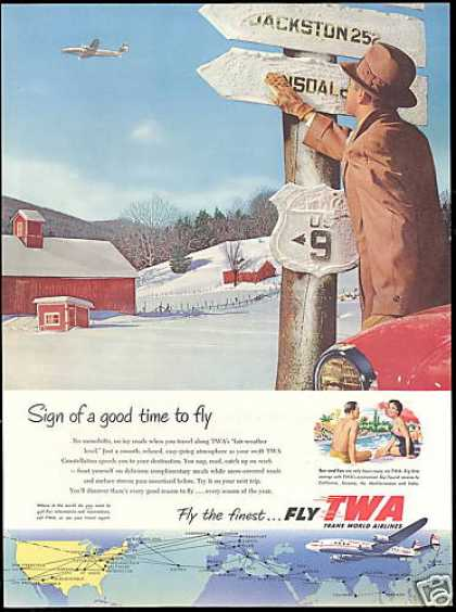 TWA Airlines Constellation Plane Barn Snow (1954)