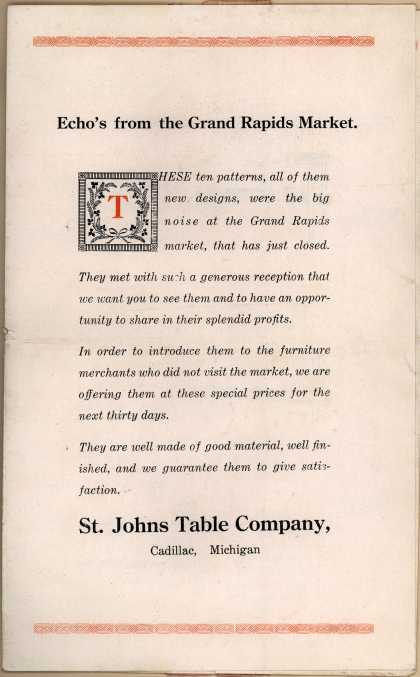 St. Johns Table Company's St. Johns Cadillac Tables – Echo's from the Grand Rapids Market