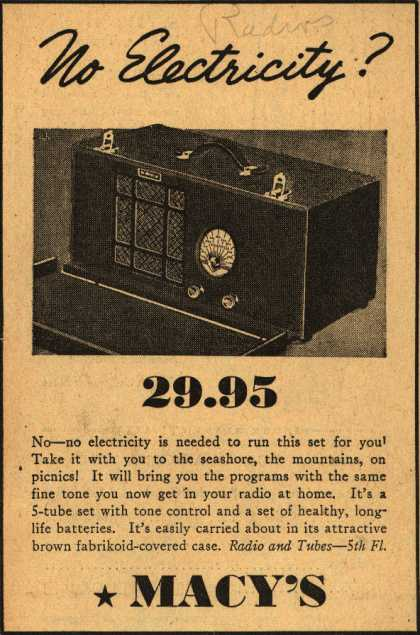 Macy's Radio – No Electricity? (1936)