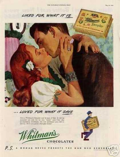"""Whitman's Chocolate Candy Ad """"Liked for What... (1948)"""
