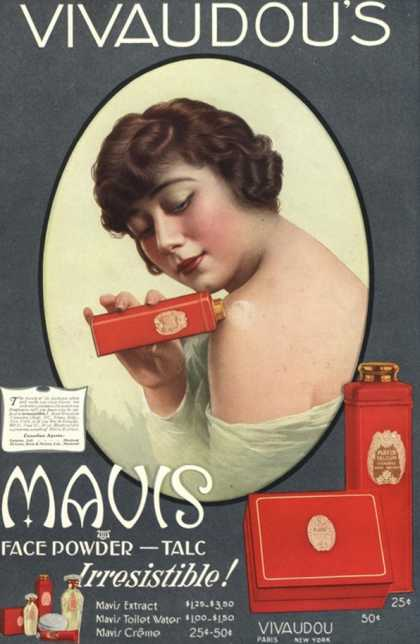 Mavis Talcum Powder Vivaudou&#8217;s, USA (1910)