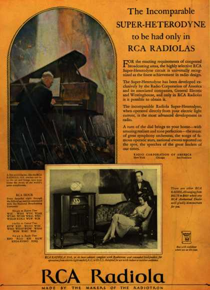 Radio Corporation of America's RCA Radiola – The Incomparable Super-Heterodyne to be had only in RCA Radiolas (1928)