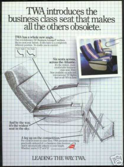 TWA Airlines 747 Lounge Seat Foot Rest (1985)