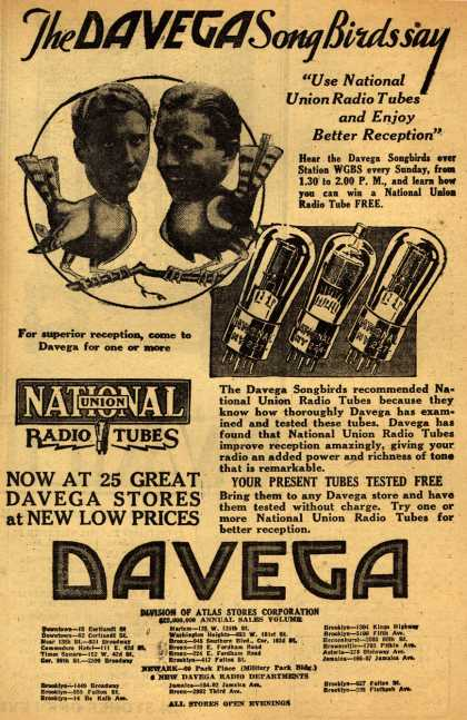 "National Union Radio Tube's Radio Tubes – The Davega Song Birds say ""Use National Union Radio Tubes and Enjoy Better Reception"" (1930)"