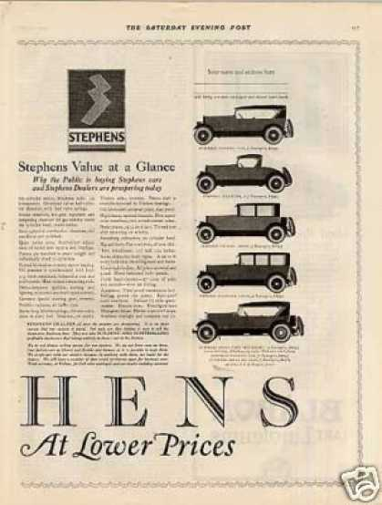 Stephens Cars Ad 2 Page (1923)