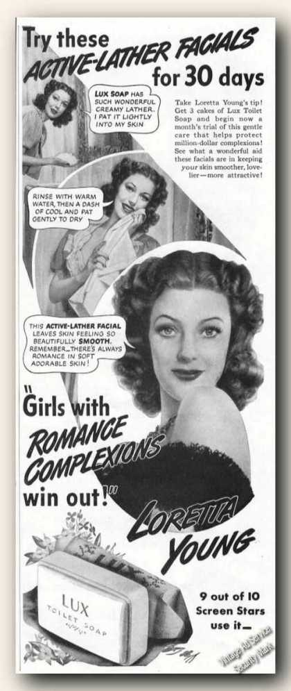 Loretta Young Pictures Lux Toilet Soap Ads (1942)