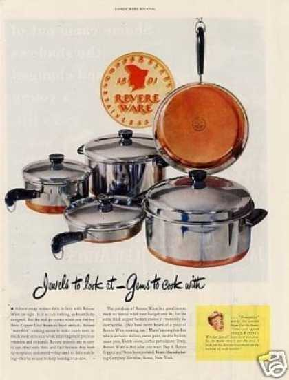 Revere Copper Bottom Pots & Pans (1948)