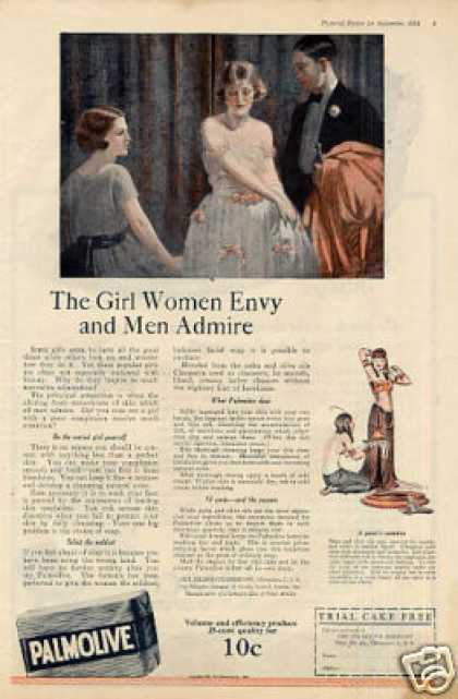"Palmolive Soap Color Ad ""The Girl Women Envy... (1921)"