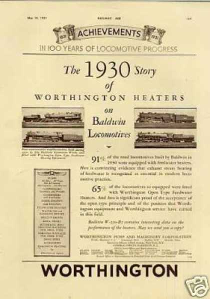 Worthington Ad Baldwin Locomotives Sp, Wabash (1931)