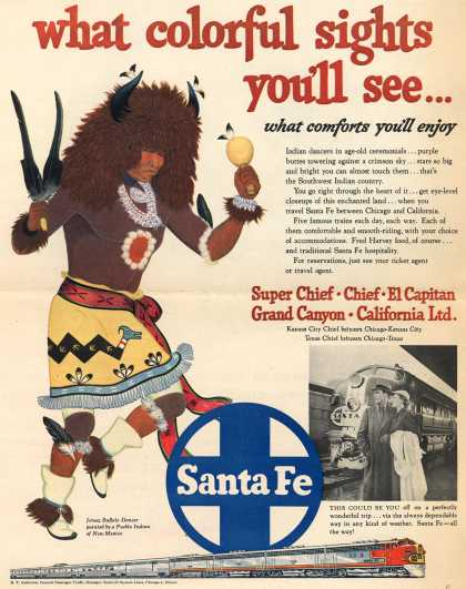 Santa Fe System Lines – what colorful sights you'll see...what comforts you'll enjoy (1952)