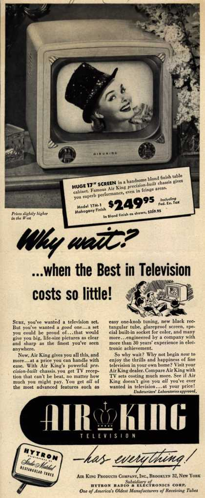 Air King Products Company's 17 inch screen televisions – Why wait?... when the Best in Television costs so little (1951)