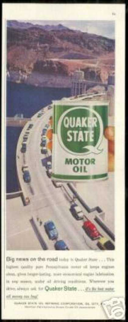 Hoover Dam Photo Quaker State Oil Vintage (1958)