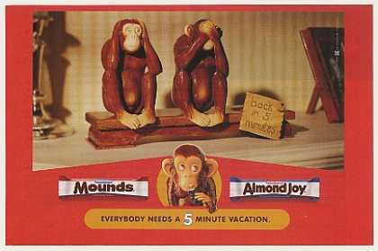 Mounds Almond Joy Candy Bars Evil Monkeys (2000)