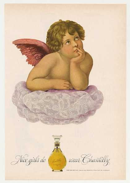Nice Girls Wear Chantilly Perfume Cherub art (1965)