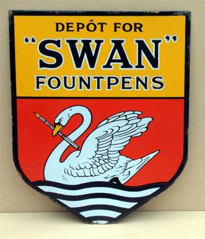 Swan Fountain Pens Enamel Sign