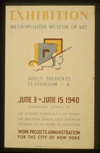 Exhibition – Metropolitan Museum of Art – Adult students classroom – K. (1940)