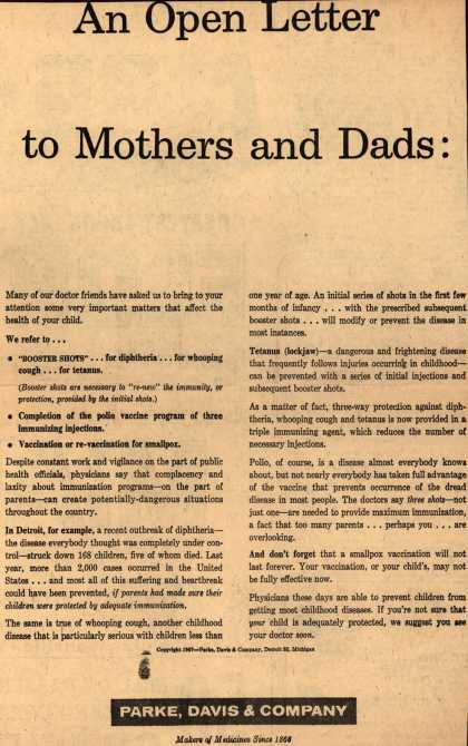 Parke, Davis & Company's Shots and vaccinations – An Open letter to Mothers and Dads: (1957)