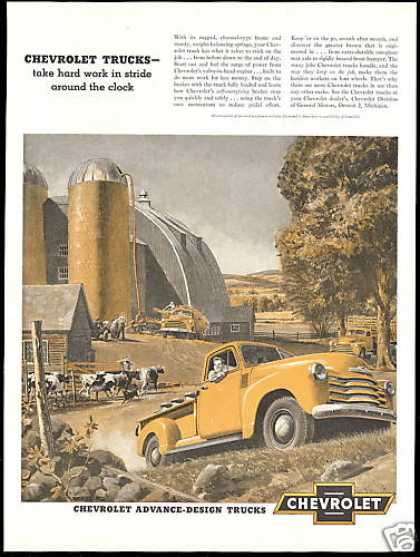 Chevrolet Truck Farm Silo Barn Cows (1951)