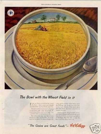 "Kellogg's Cereal Ad ""The Bowl With the Wheat Field (1944)"