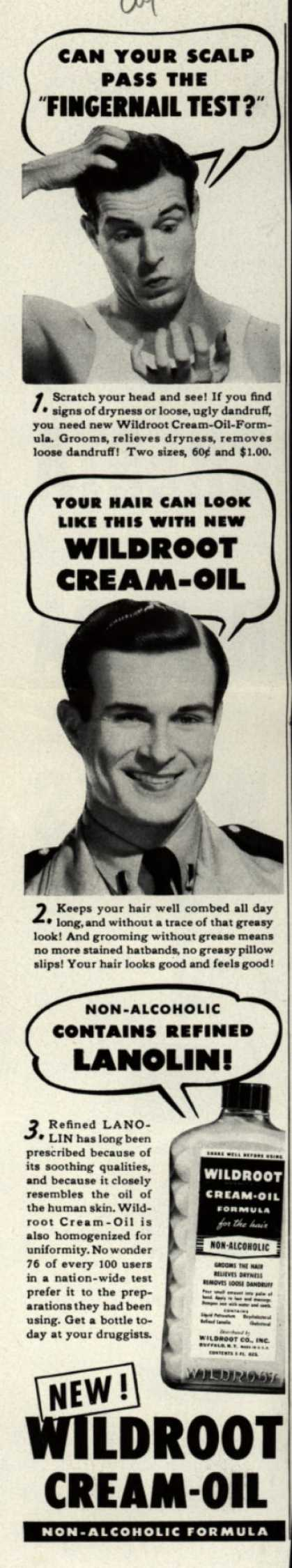Wildroot Company's Wildroot Cream-Oil – Can Your Scalp Pass The Fingernail Test? (1943)