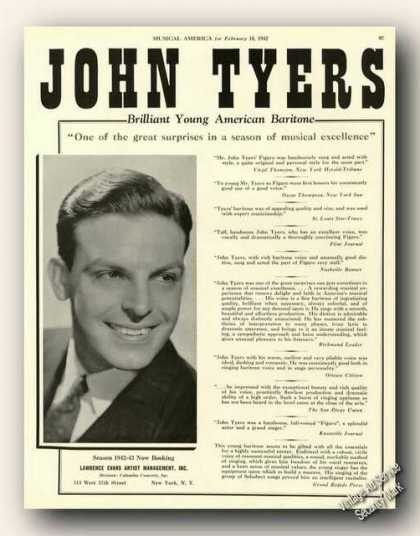 John Tyers Photo Baritone Antique Opera (1942)