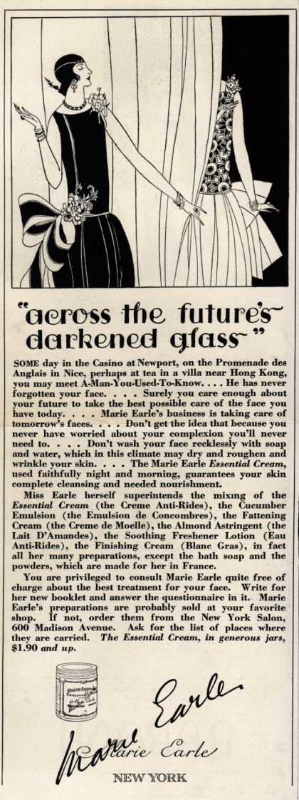 "Marie Earle's Cosmetics – ""across the future's darkening glass"" (1925)"
