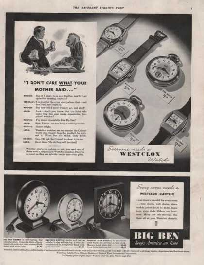 Westclox Big Ben Electic Watch & Clocks (1941)