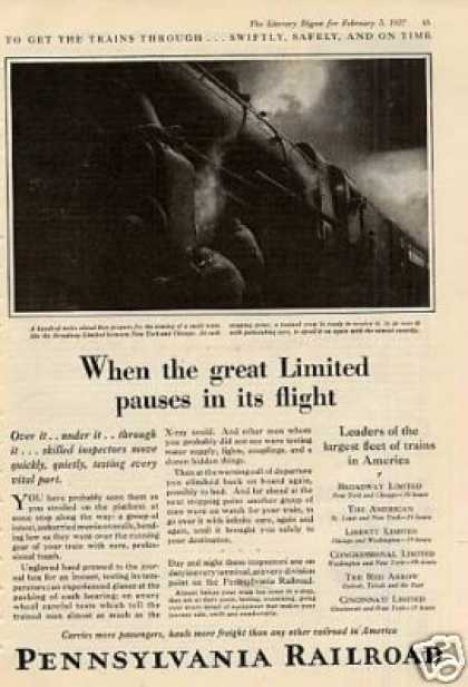 "Pennsylvania Railroad Ad ""When the Great Limited (1927)"