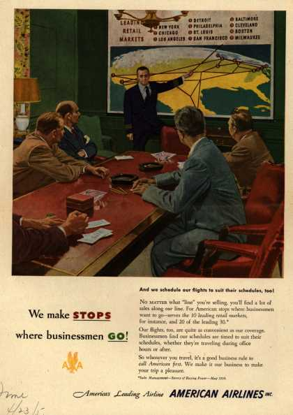 American Airline's Business Travel – We make STOPS where businessmen GO (1951)