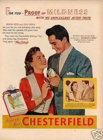 Chesterfield Cigarettes Ad Donna Reed/john Derek (1951)