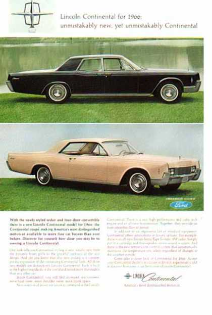 Lincoln Continental Car – Sedan & 4 Door Coupe (1966)