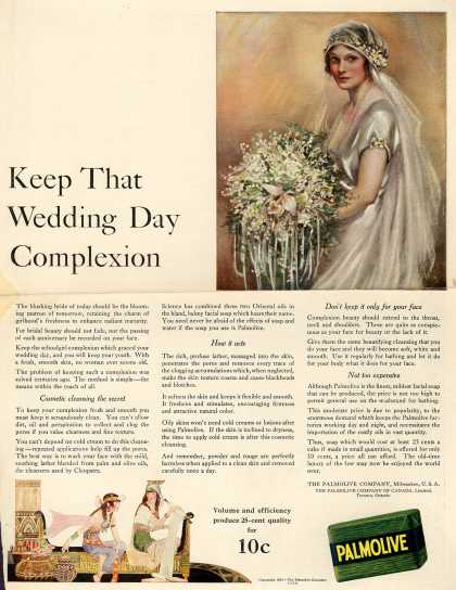 Palmolive Company's Palmolive Soap – Keep That Wedding Day Complexion (1922)