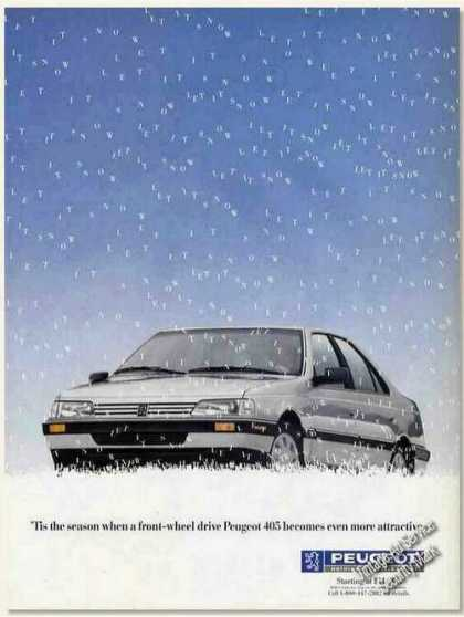 "Peugeot 405 Front Wheel Drive ""Let It Snow"" (1989)"