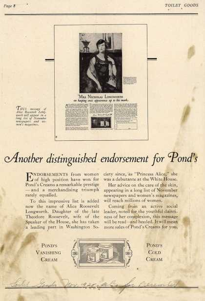 Pond's Extract Co.'s Pond's Cold Cream and Vanishing Cream – Another Distinguished endorsement for Pond's (1925)