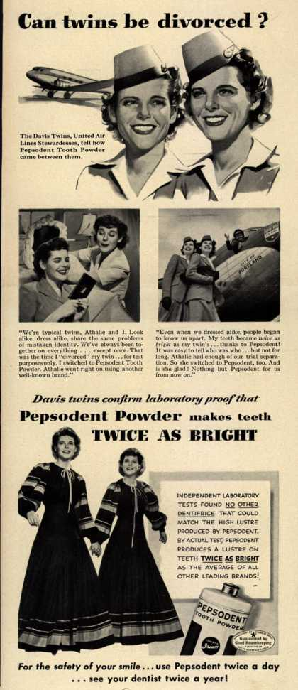 Pepsodent Company's tooth powder – Can twins be divorced? (1942)