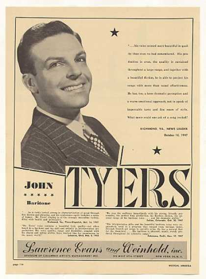Baritone John Tyers Photo (1948)