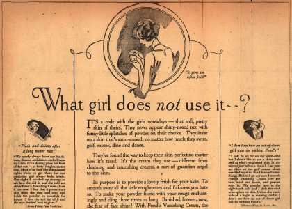 Pond's Extract Co.'s Pond's Vanishing Cream – What girl does not use it? (1924)
