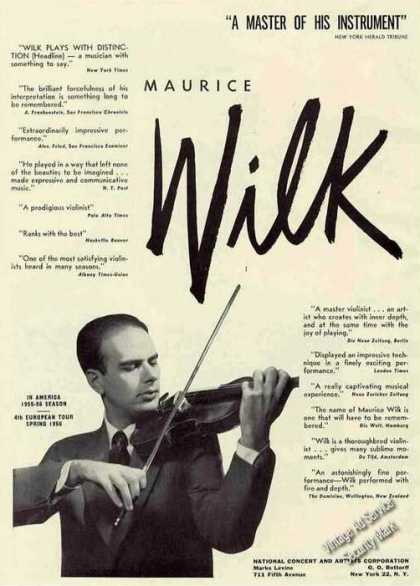 Maurice Wilk Photo Violinist Booking (1955)