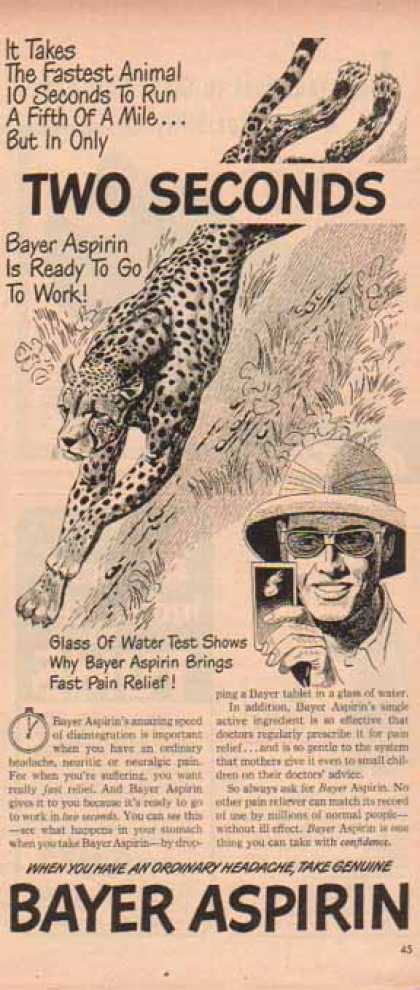 Bayer Aspirin – Safari Refief with Fast Pain Relief (1948)