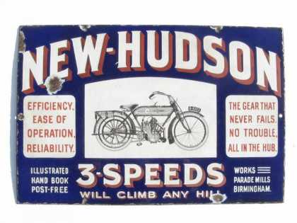 New Hudson Motorcycle Enamel Sign