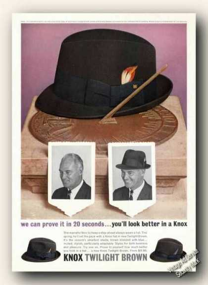Knox Twilight Brown Hats Fashion Ad Sundial (1963)